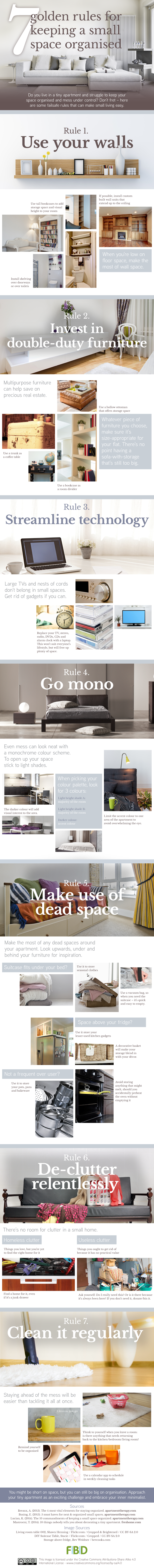 golden rules of keeping a small space organised infographic