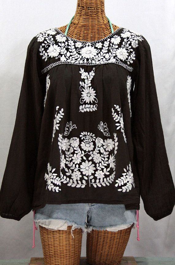 5ff4b2150708d7 Mexican Peasant Blouse Long Sleeve Top Hand by Sirenology on Etsy ...