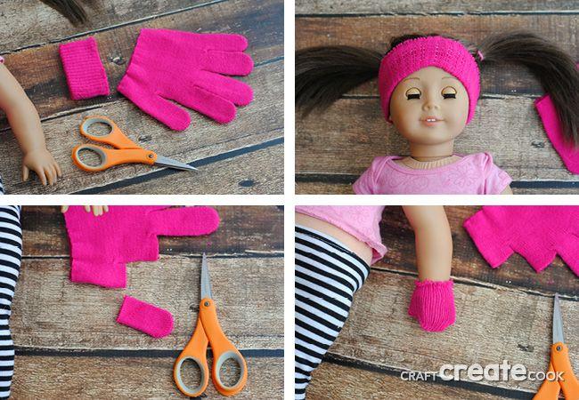 No Sew American Girl Headband & Mittens #americangirldollcrafts