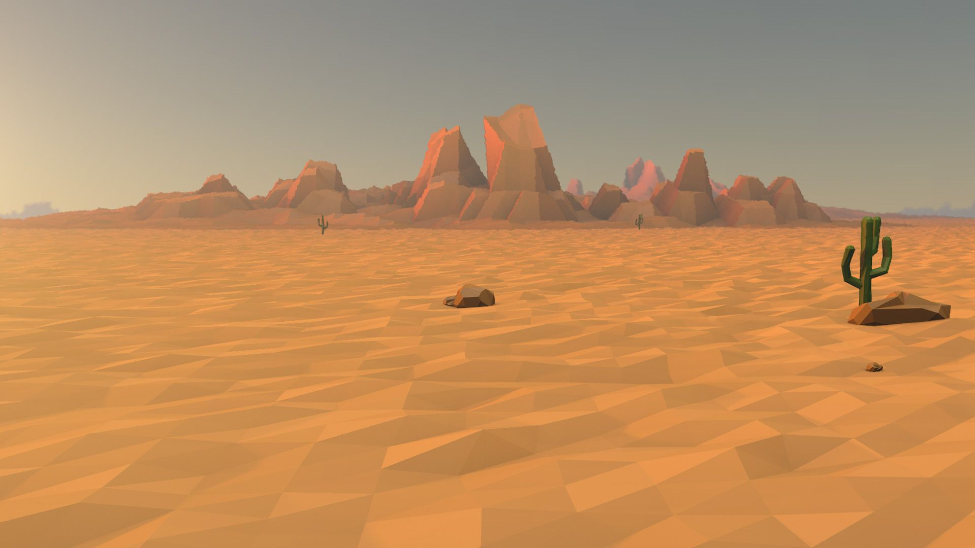 Low Poly Cinema4D Late afternoon desert | Low Poly | Low