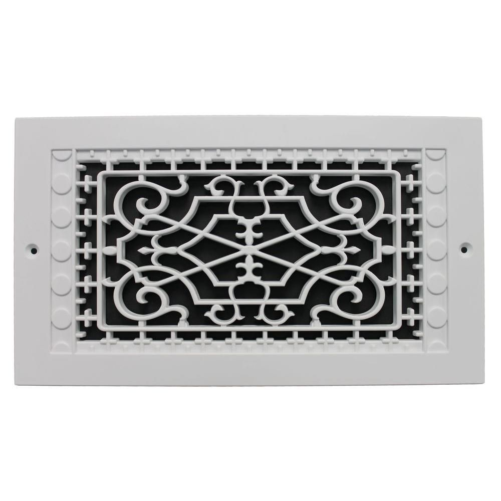 Smi Ventilation Products Victorian Wall Mount 12 In X 6 In Opening 8 In X 14 In Overall Size Polymer Decorative Return Air Grille White Wmm612 Air Return Polymer Resin Cold Air Return