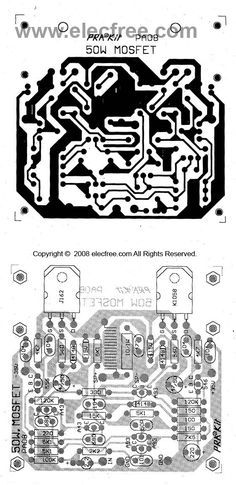 50w mosfet amplifier circuit OCL using K1058 + J162   pcb1
