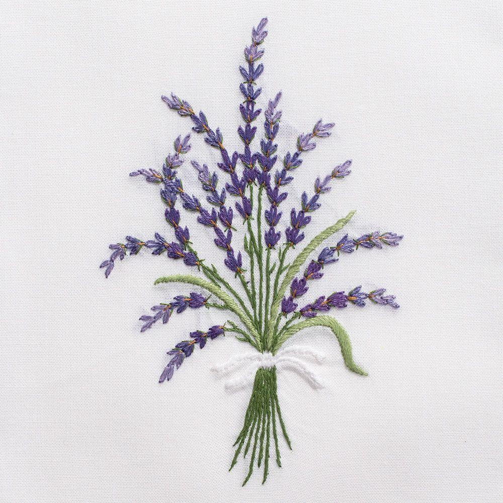 Lavender WildHand Towel - White Cotton | Bordado, Lavanda y Bordado ...