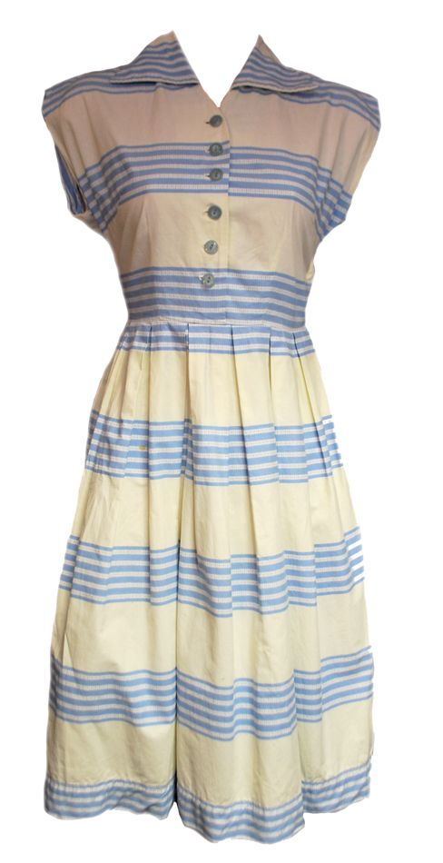 My summer dress - Vintage 1950s St Michael White & Blue Striped Cotton Dress Size 10