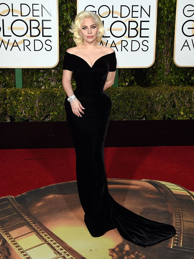 320c714d5adc Lady Gaga Is Wearing Custom Versace at the 2016 Golden Globe Awards