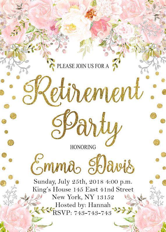 photograph regarding Printable Retirement Invitations named Retirement Bash Invites, Floral Retirement Social gathering