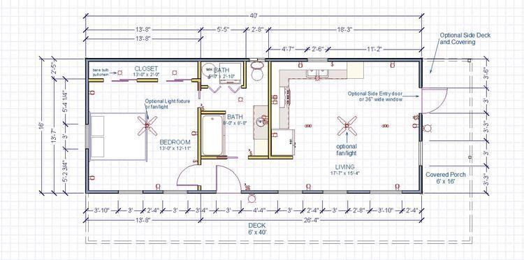 Modern cabin 16x40 front side entry big 1bdr for 16x40 floor plans