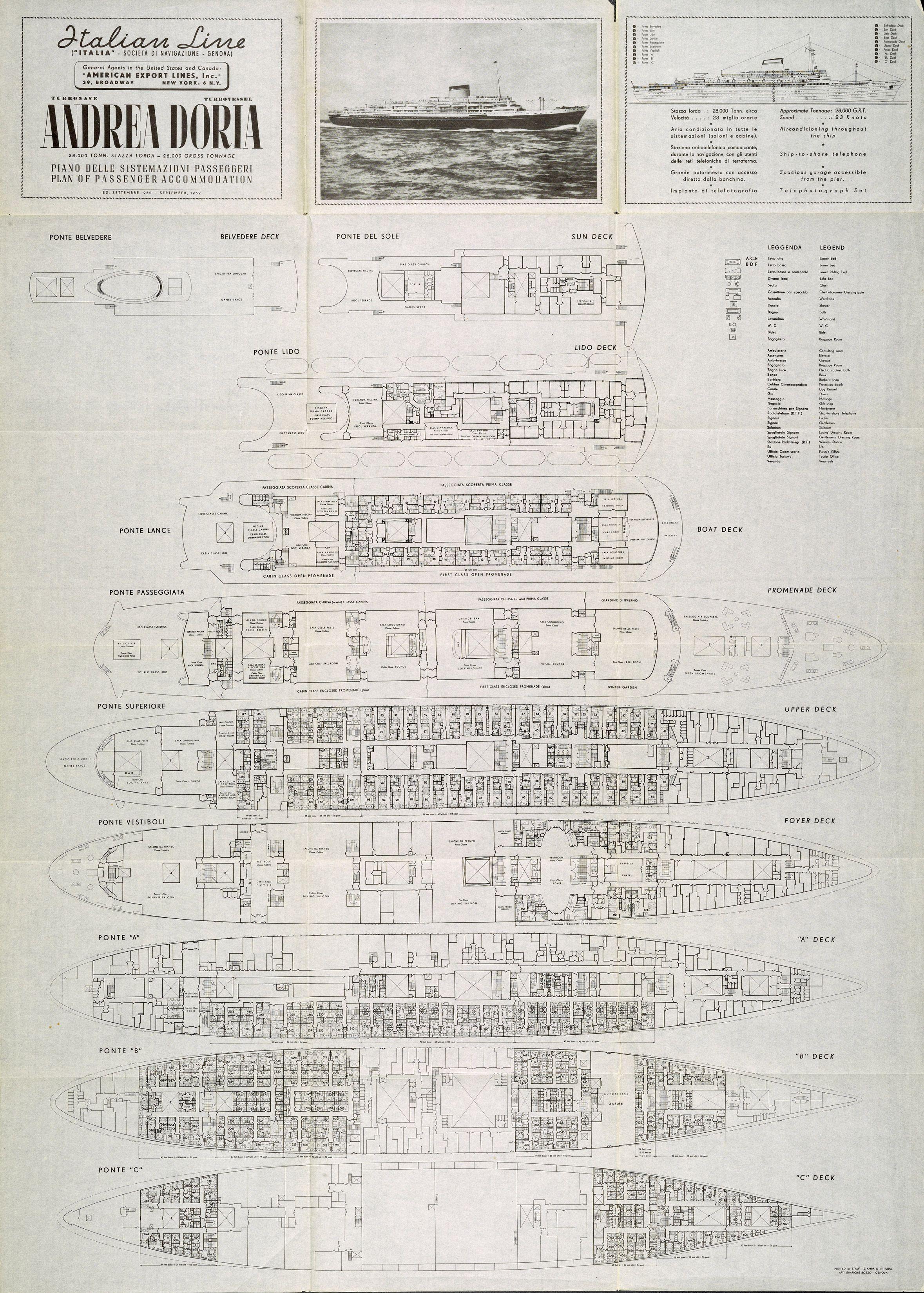 Andrea Doria Deck Plan