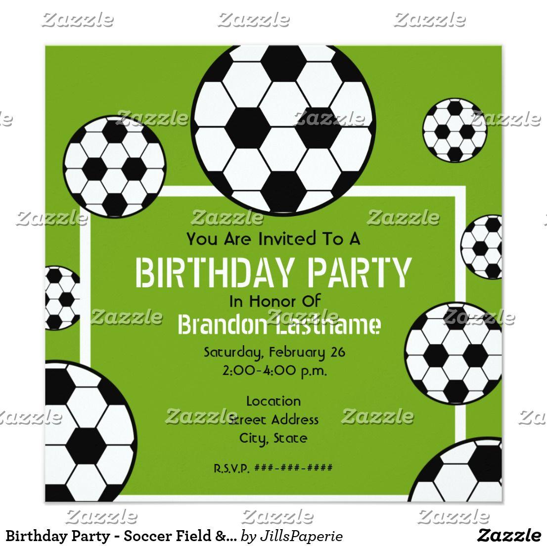Birthday Party Soccer Field Soccer Balls Invitation Zazzle