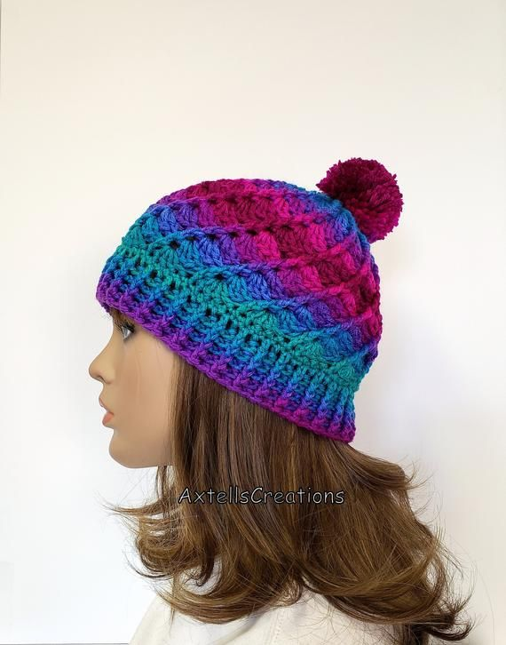 Pink Ombre Winter Hat with Pom Pom d59e059fd1b