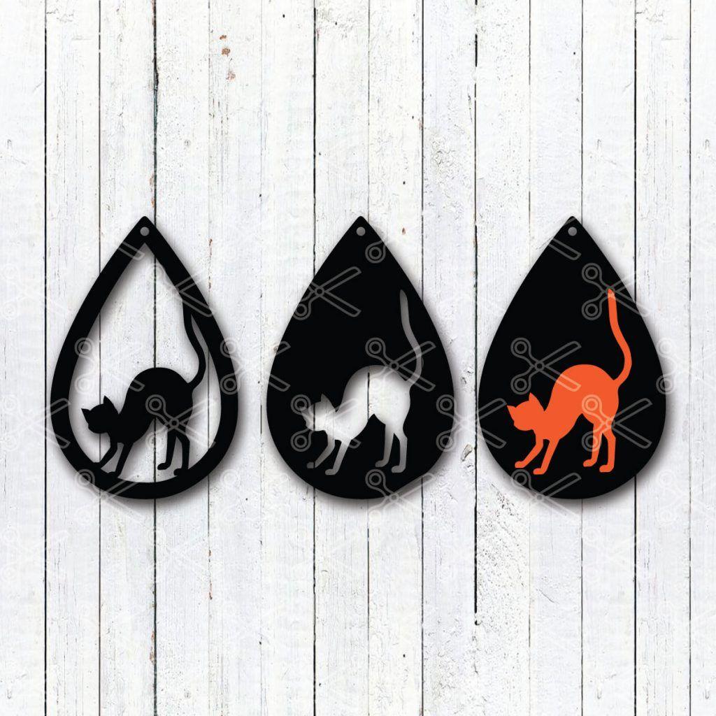 TearDrop Earrings Bundle SVG PNG DXF Black cat halloween