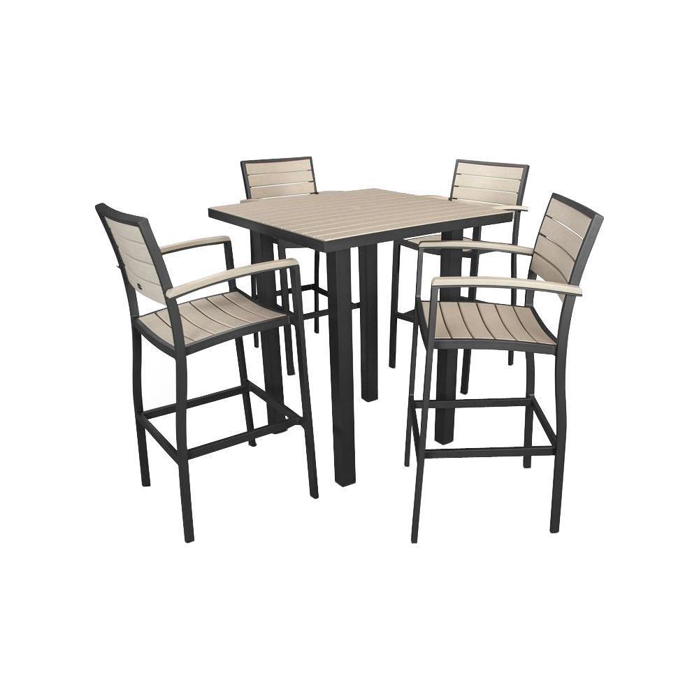 Room sets brynwood black 5 pc pedestal dining set black chairs - Polywood Euro Textured Black Sand 5 Piece Patio Bar Set
