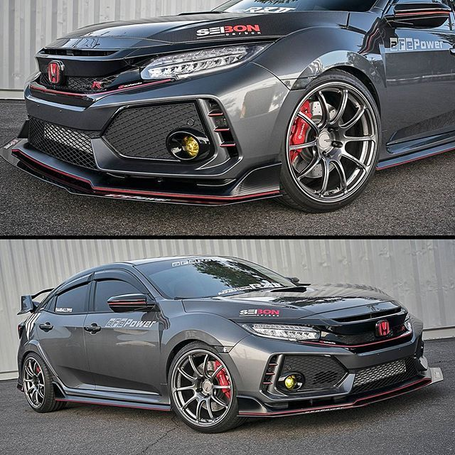 So Much Better Than Stock Fk8 Civic Type R Featuring Carbon Bits Seiboncarbon And Rzii Wheels From Rays Honda Civic Type R Honda Civic Honda Civic Hatchback