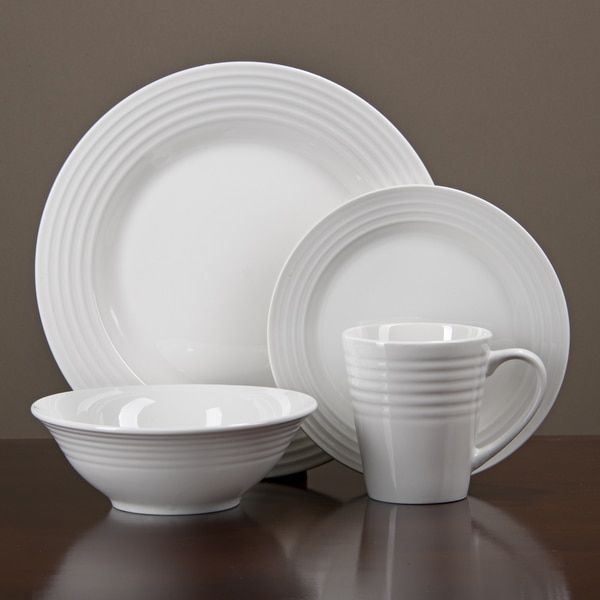 Oneida Continuum White Porcelain 32-piece Dinnerware Set (Serves 8 ...