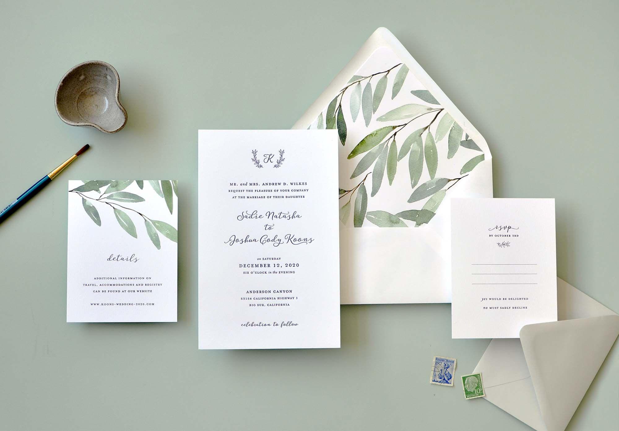 Sa Wedding Invitation One Color Letterpress Monogrammed Design With Botanical Envelope Liner Is A Lovely Simple Just Touch Of Garden