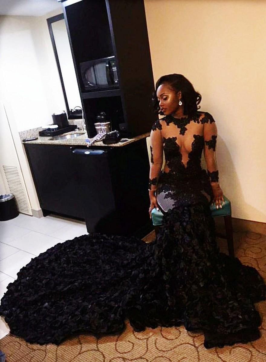 89ceae78bd819 African Black Prom Dresses Mermaid Sheer Neckline Appliques Long ...