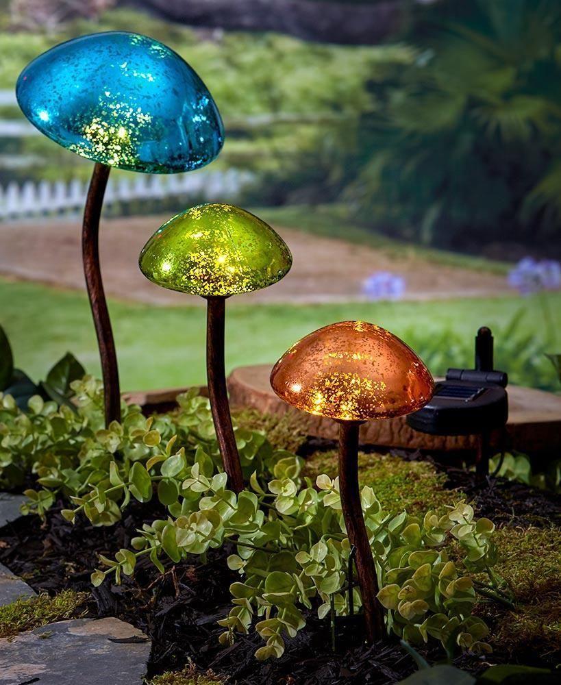 decorative solar lights on set of 3 solar lighted mushroom mercury glass look pathway yard art garden stake ebay solar lights garden solar landscape lighting outdoor solar lights pinterest