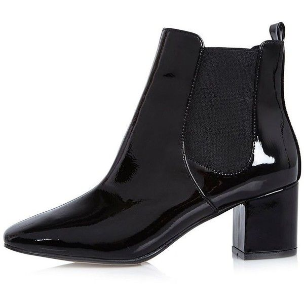 c7ae0cbf0a44 River Island Black patent block heel Chelsea boots (105 BRL) ❤ liked on  Polyvore