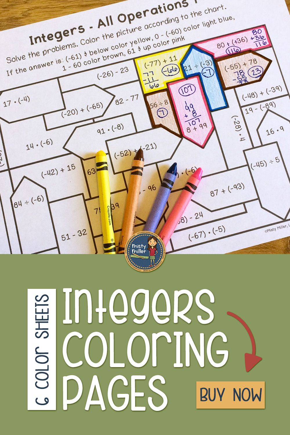 small resolution of Integers Distance Learning Math Coloring Pages in 2020   Math