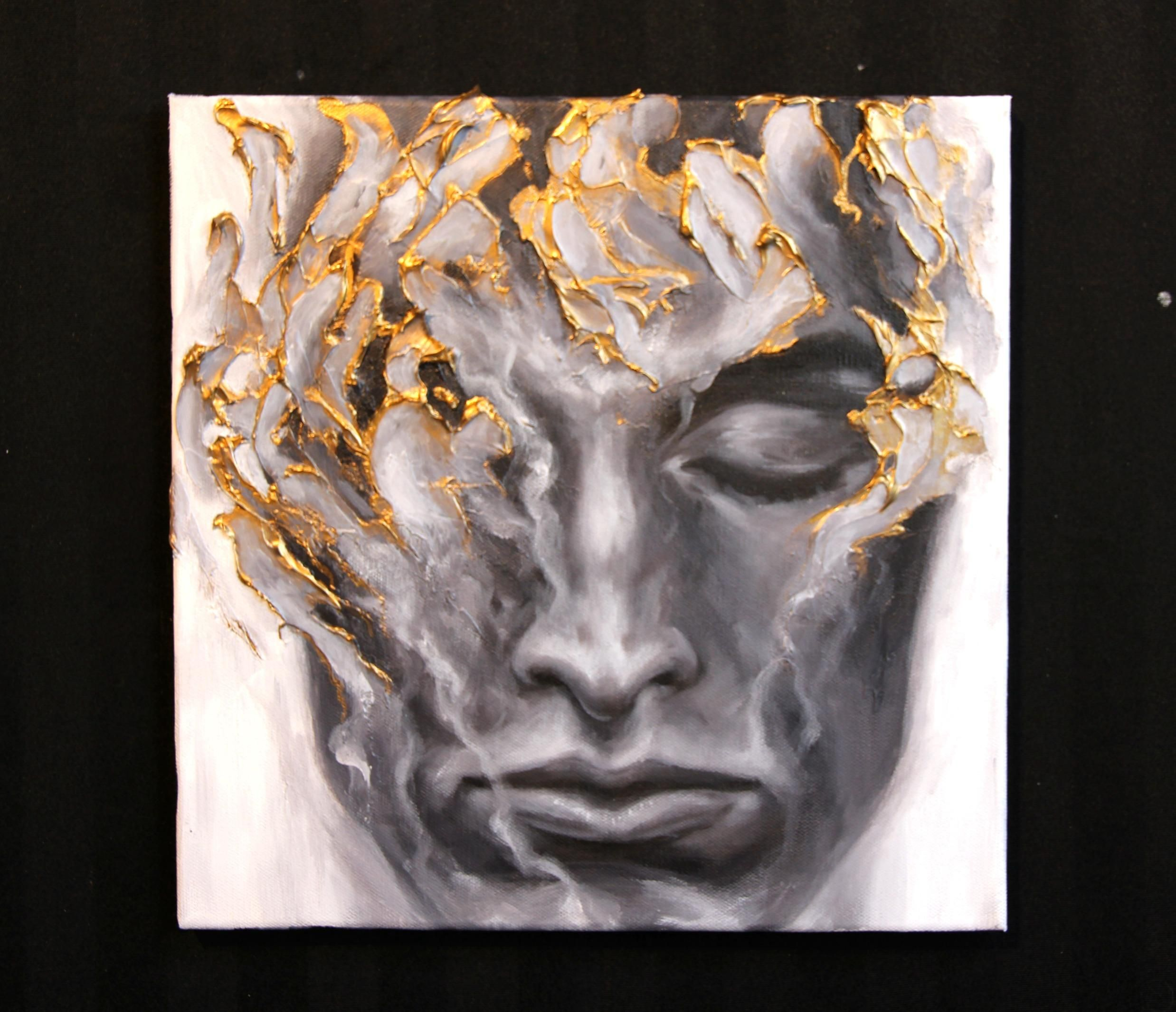 Myself To Myself Given Acrylic And Liquid Gold Leaf On