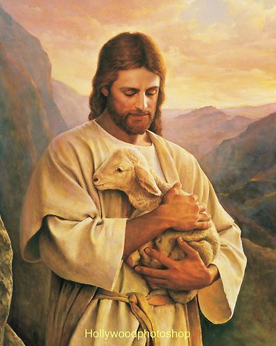 "Jesus Carrying A Lost Lamb 8x10"" Christian Art Print Image Picture 42 