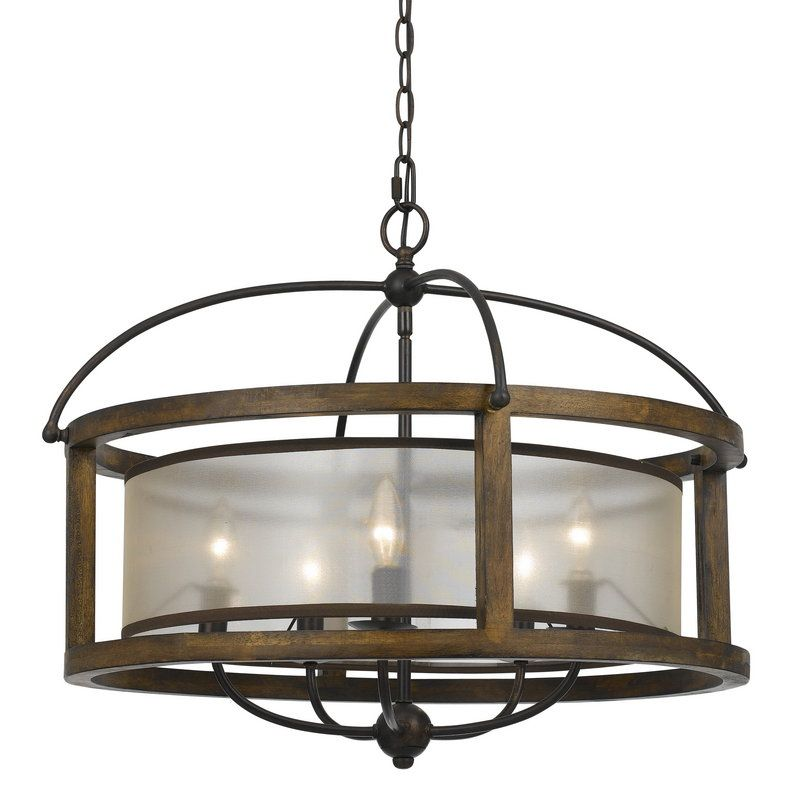View the Cal Lighting FX-3536/5 Mission 5 Light Pendant with Organza Shade at LightingDirect.com.$680