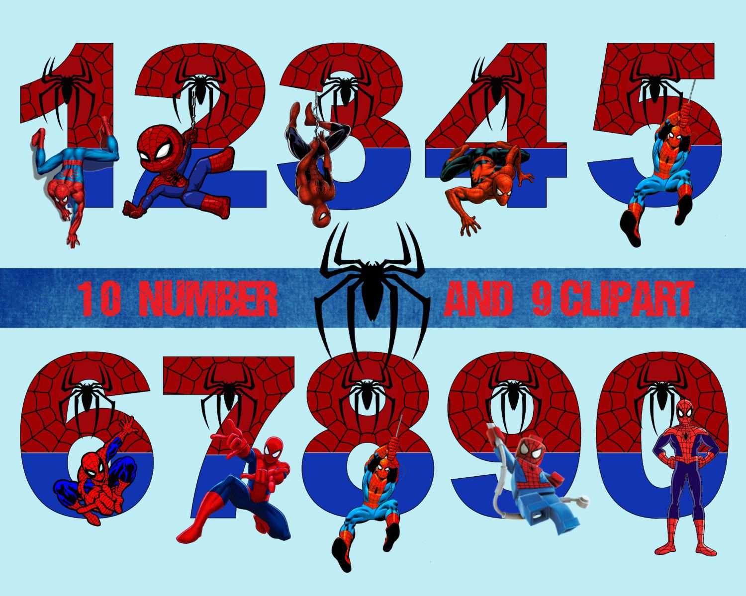 Spiderman Number And Clipart, Disney, Princess, Digital Graphic, Image,  Scrapbook, Invitations, Printable