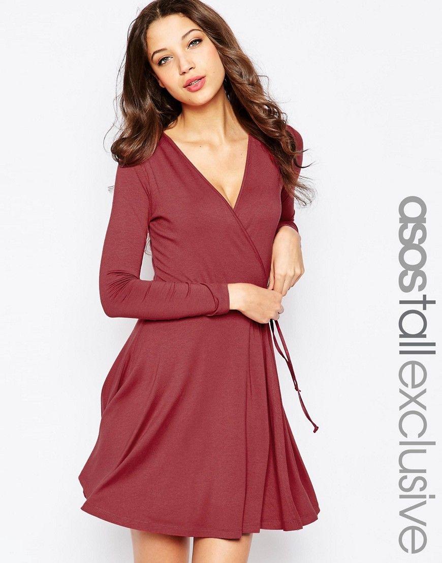 896d28b9b41 ASOS TALL Wrap Tea Dress With Long Sleeve at asos.com