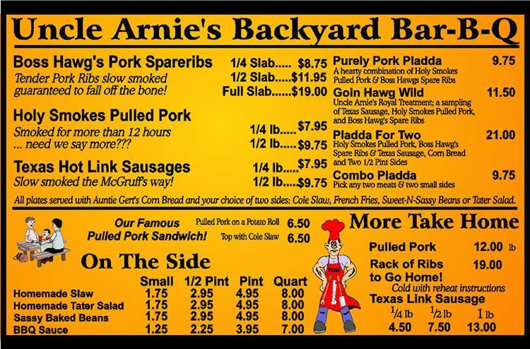 Uncle Arnieì's BBQ Menu wegrill Bbq menu, Bbq food
