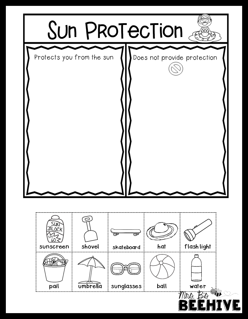 worksheet Sun Worksheets sun safety worksheets httpwww timeforkids comcontentsun mrs bs beehive next generation science standards in kindergarten