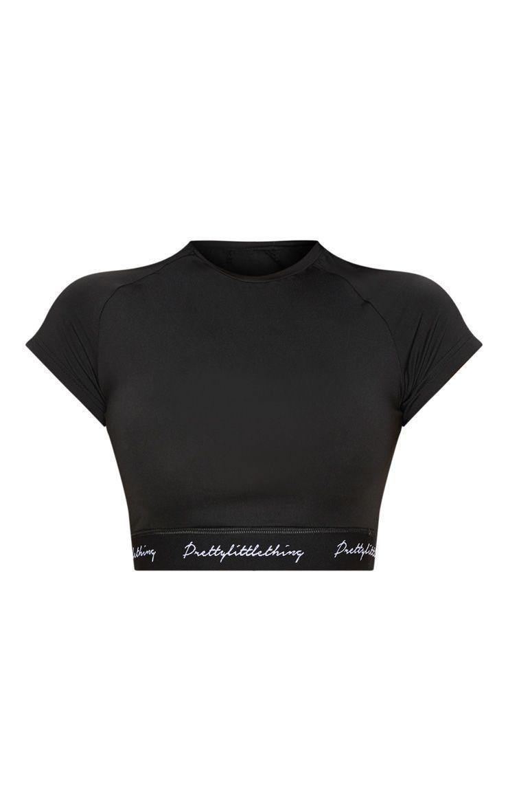 577091619b6 Black Band Short Sleeve Crop Top | aesthetic fashion | Crop tops ...