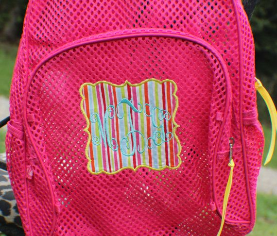 f84977112 ... This listing is for a girl's mesh back pack with personalized name or  three letter monogram applique design on front and optional ruffle straps.
