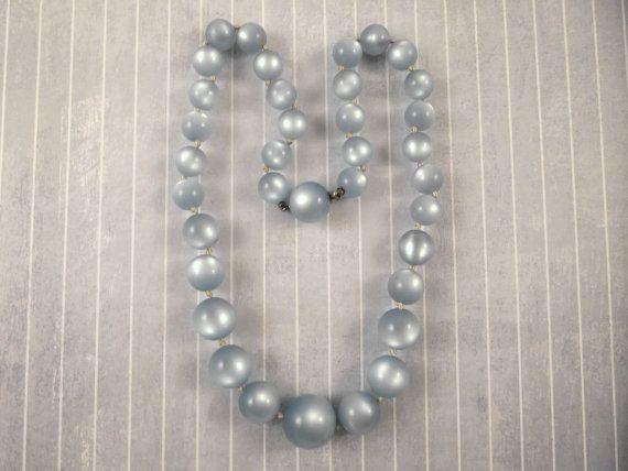 Vtg Lisner Blue Moonglow Lucite Plastic Bead Necklace