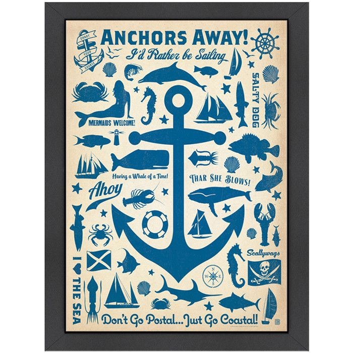 Anchors Away Framed Print Anchor Canvas Retro Poster Gallery Wrap Canvas