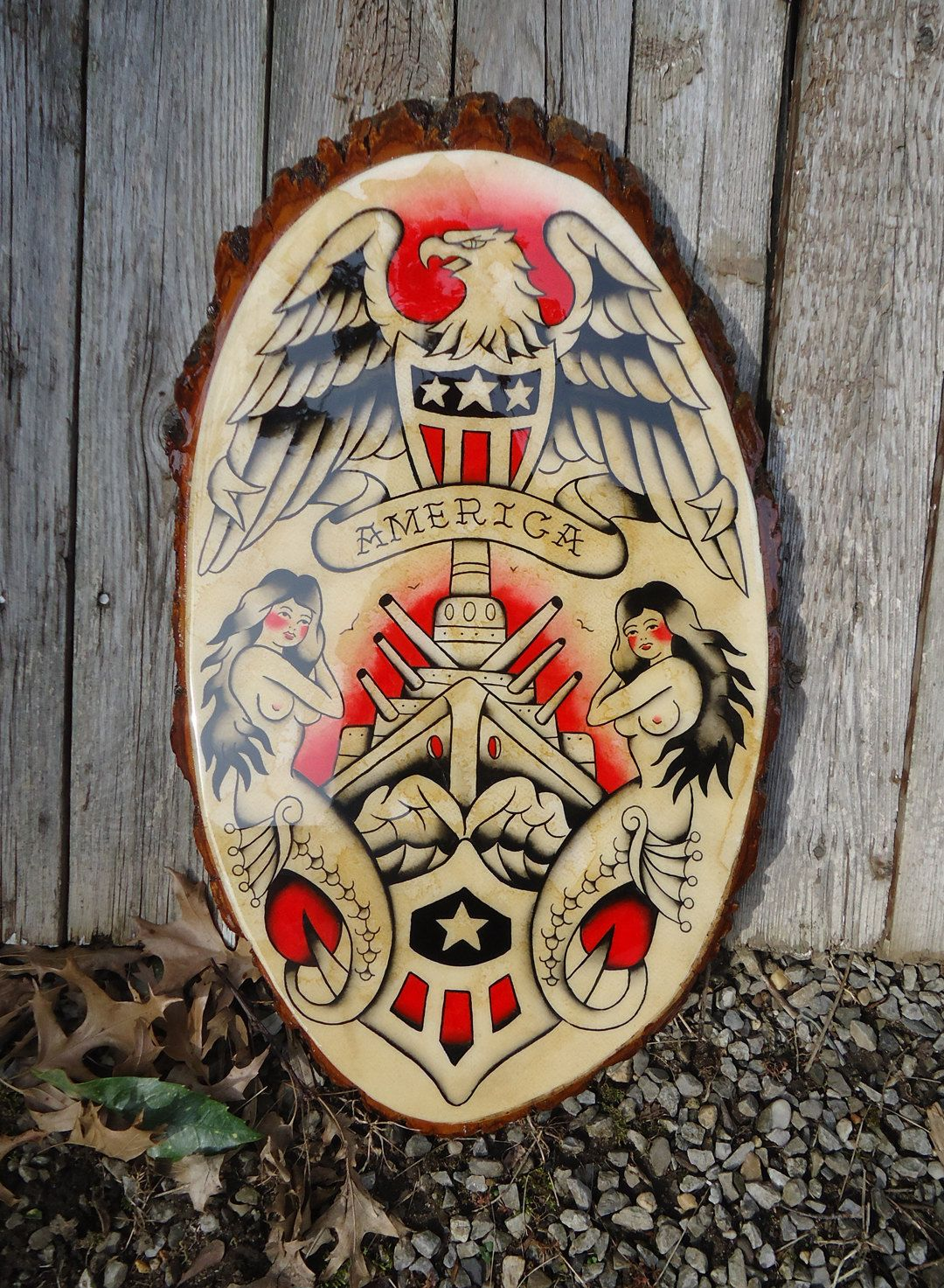 Vintage style original traditional american hand painted