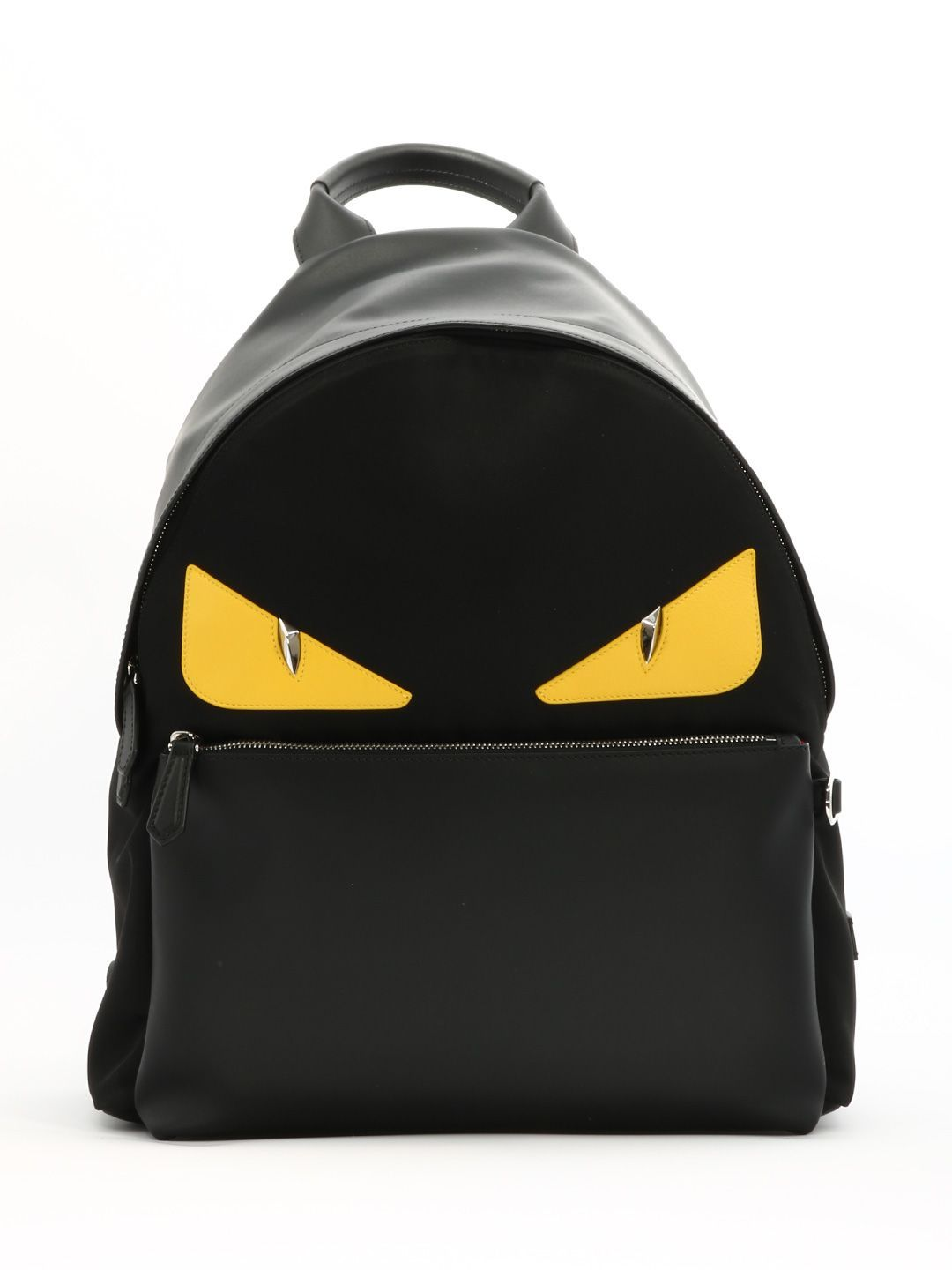 25c21085c0f7 FENDI BLACK BACKPACK YELLOW EYES.  fendi  bags  leather  nylon  backpacks