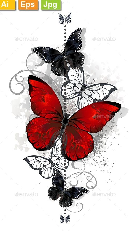 Photo of Red and Black Butterflies – Decorative Vectors
