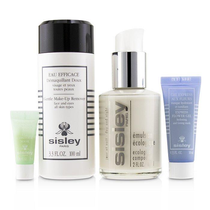 Wochenend-Must-Haves-Set: Ökologische Verbindung 60 ml + Schonender Make-up-Entferner 100 ml + Express-Blumengel 10 ml + Augenkonturmaske 4 Stück + 1 Beutel