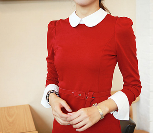 a6620066274b0a Red Dress With White Collar