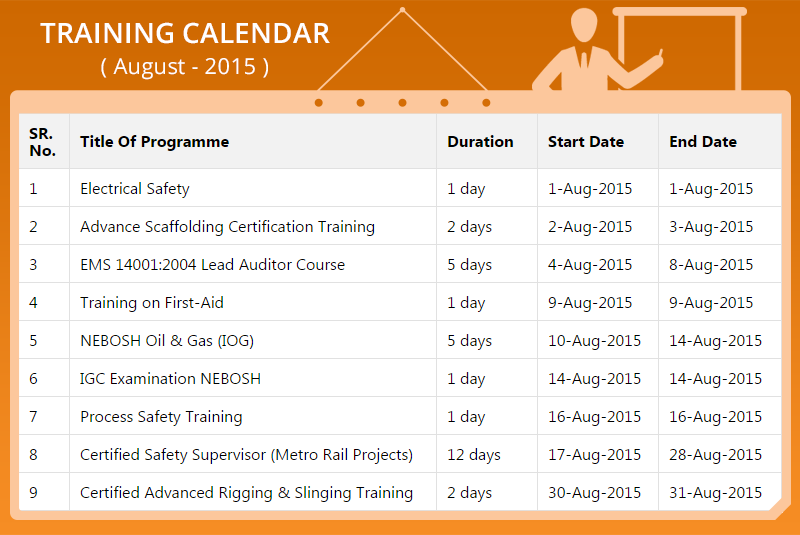 Schedule Your Safety Training With Us August  Training