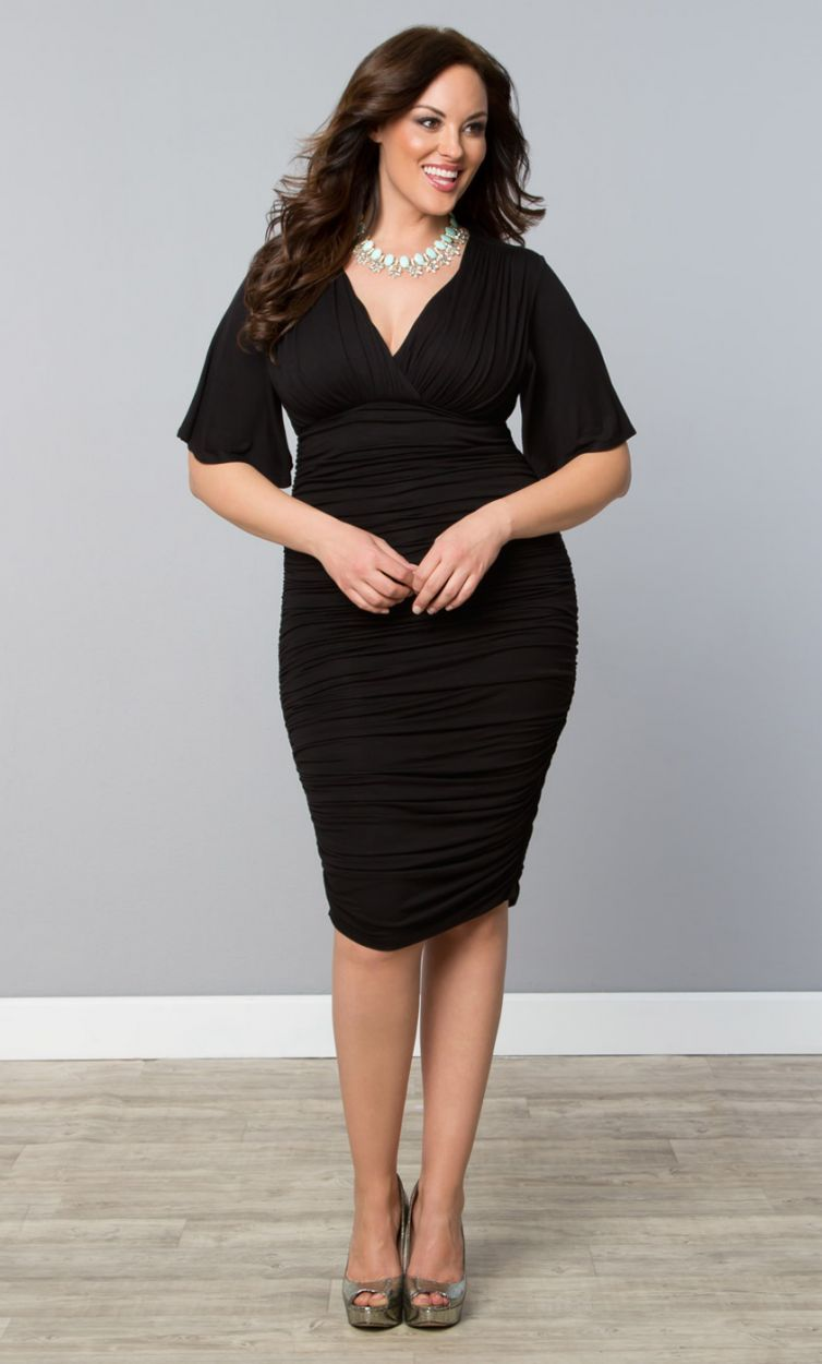 Rumor Ruched Dress Black Noir Womens Plus Size From The Plus Size