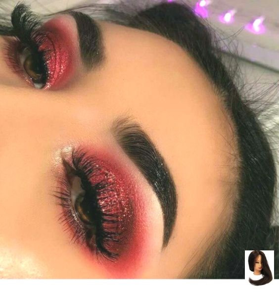 Red eye makeup - Dress Models #glittereyemakeup
