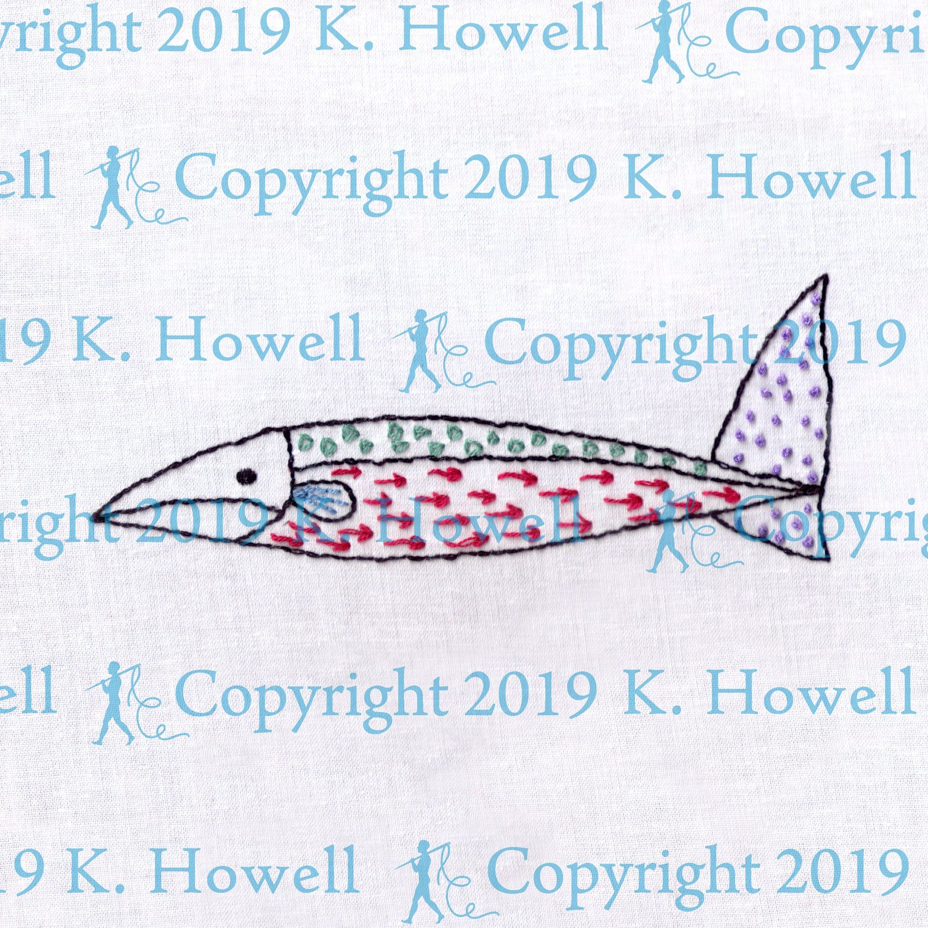 Rainbow Fish Hand Embroidery Pattern Fish Sampler 2