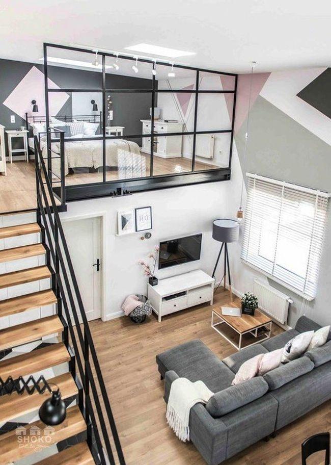 chambre en mezzanine avec verri re petits espaces pinterest chambre en mezzanine. Black Bedroom Furniture Sets. Home Design Ideas