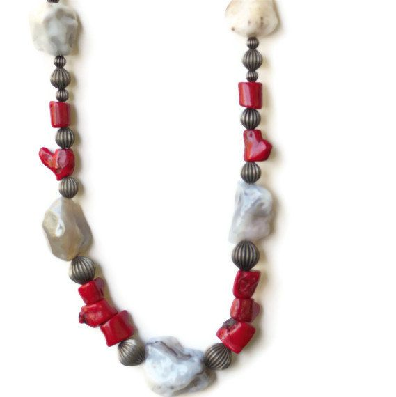 Long Chunky Rustic Red Grey Necklace Statement by ALFAdesigns, $59.99