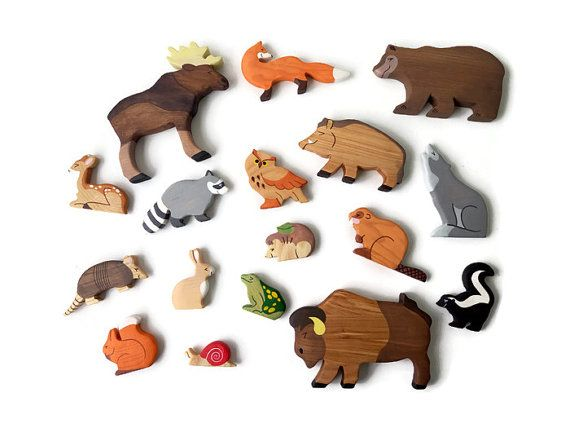 S Animal Figure Toys For Toddlers Organic Wooden Pull Along Colorful Play Set