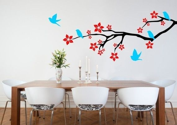 Birds On a Blossom Branch Vinyl Wall Decal by DecorDesigns on Etsy, $54.99