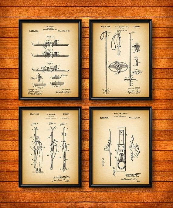 Set Of 4 Ski Posters Art Print Or Canvas Wall Art Vintage Etsy Ski Lodge Decor Ski Decor Ski Posters