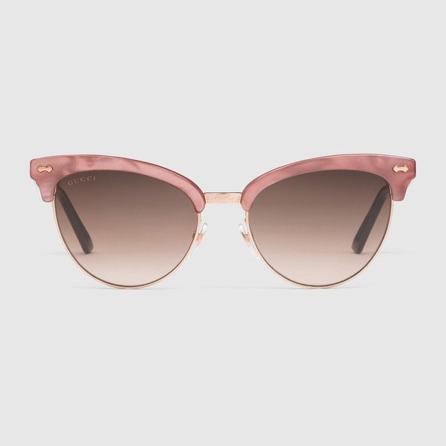 Cat eye acetate and metal sunglasses · Gucci SunglassesWomen s Sunglasses Pink CatCat Eye GlassesCat EyesEyewearBrown ... 013cd07633ef