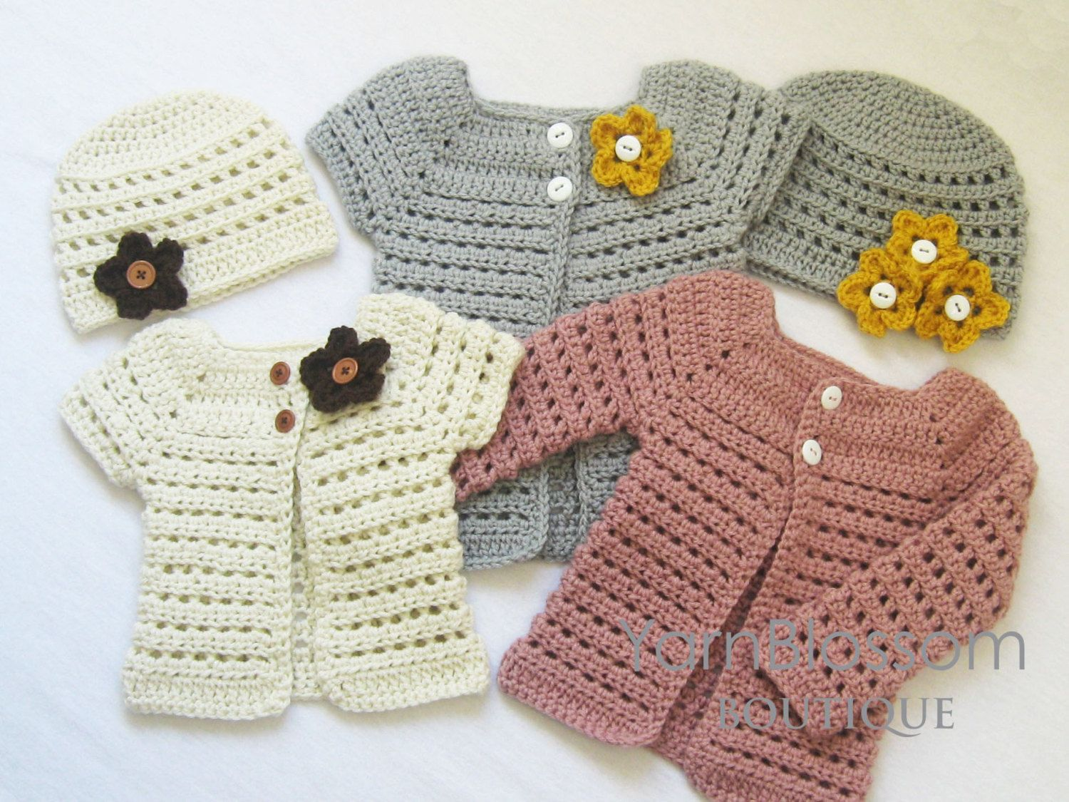 CROCHET PATTERN - Toddler Cardigan & Beanie - PDF download , digital ...